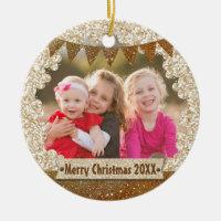 Gold Glitter Personalized Holiday Photo Monogram Ceramic Ornament
