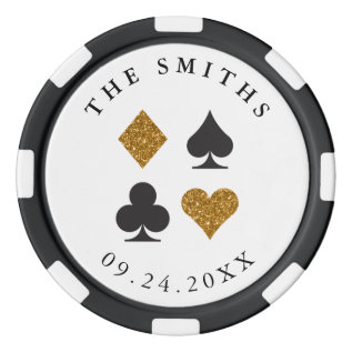 Gold Glitter Personalized Wedding Favor Gift Set Of Poker Chips at Zazzle