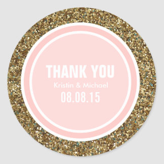 Gold Glitter & Petal Pink Thank You Label