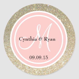 Gold Glitter & Petal Pink Wedding Monogram Classic Round Sticker