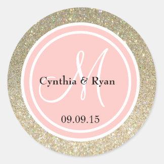 Gold Glitter & Petal Pink Wedding Monogram Round Stickers