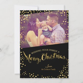 Gold Glitter Photo Christmas CardFlat Holiday Card