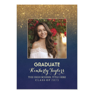 Gold Glitter Photo Graduation Party Announcement