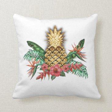 Hawaiian Themed Gold glitter pineapple pillow