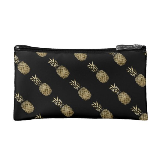 Gold Glitter Pineapple Small Cosmetic Bag Travel