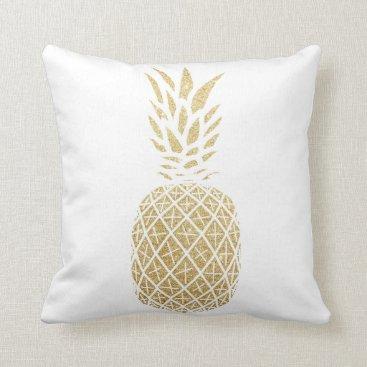Beach Themed Gold Glitter Pineapple Tropical Throw Pillow Beach