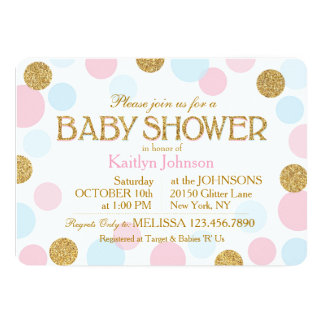 Gold Glitter Pink Baby Blue Dots Baby Shower Card