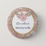 "Gold Glitter Pink Baby Shower Mommy-to-Be Name Tag Pinback Button<br><div class=""desc"">Adorable and elegant mommy-to-be baby shower name tag.  Faux gold glitter in pinks and browns with gold and white accents.  Flower with faux diamond.  Add mom&#39;s name or other such as mother,  grandma,  aunt,  cousin,  etc... .Editable button name tags.</div>"