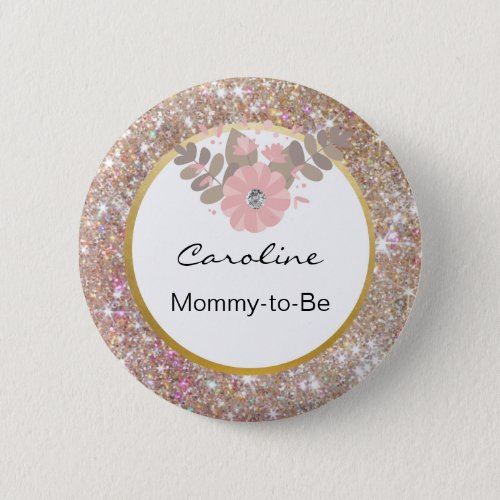 Gold Glitter Pink Baby Shower Mommy_to_Be Name Tag Pinback Button
