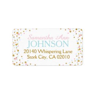 Gold Glitter Pink Blue Twin Sprinkles Label