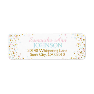 Gold Glitter Pink Blue Twins Sprinkles Label