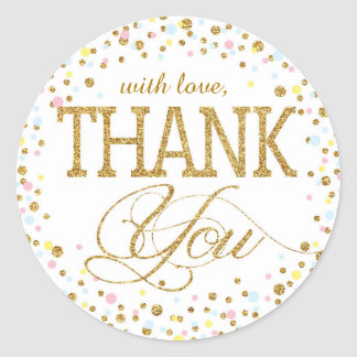 Gold Glitter Pink Blue Yellow Thank You Label Classic Round Sticker