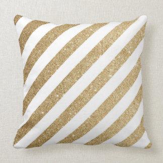 Gold Glitter & Pink Bokeh Shimmer Large Pillow