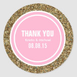 Gold Glitter Pink Custom Thank You Label Classic Round Sticker