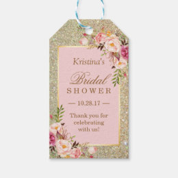 Gift tags favor tags zazzle gold glitter pink floral bridal shower thank you gift tags negle Choice Image