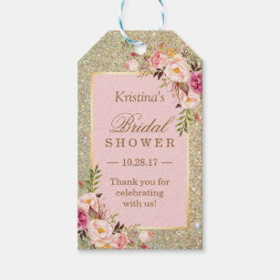 4b08435d976 Gold Glitter Pink Floral Bridal Shower Thank You Gift Tags