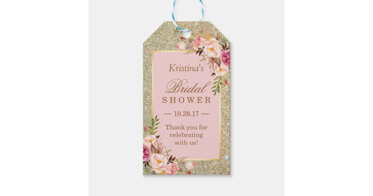 Wedding Shower Thank You Gifts: Gold Glitter Pink Floral Bridal Shower Thank You Gift Tags