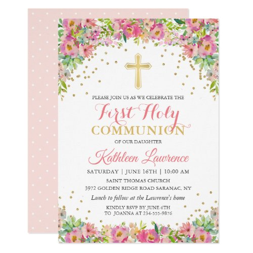 Gold Glitter Pink Floral First Holy Communion Invitation