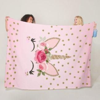 Gold Glitter & Pink Floral Unicorn Trendy Fleece Blanket