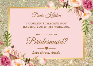 Pink Floral Will You Be My Bridesmaid Cards Zazzle