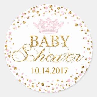 Gold Glitter Pink Royal Princess Baby Shower Classic Round Sticker