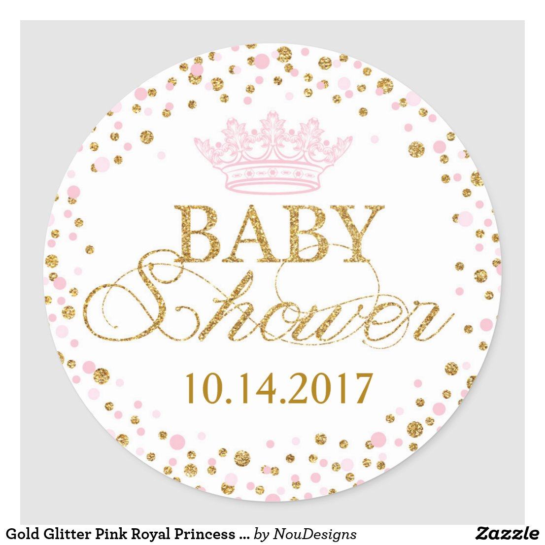 Pink And Gold Personalized Princess Stickers Gold Glitter Pink Royal  Princess Baby Shower Classic Round Sticker ...