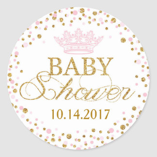 Gold Glitter Pink Royal Princess Baby Shower Classic Round Sticker