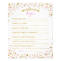 Gold Glitter Pink Sprinkle Confetti Baby Wish Card