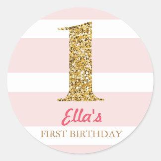 Gold Glitter & Pink Stripe First Birthday Stickers