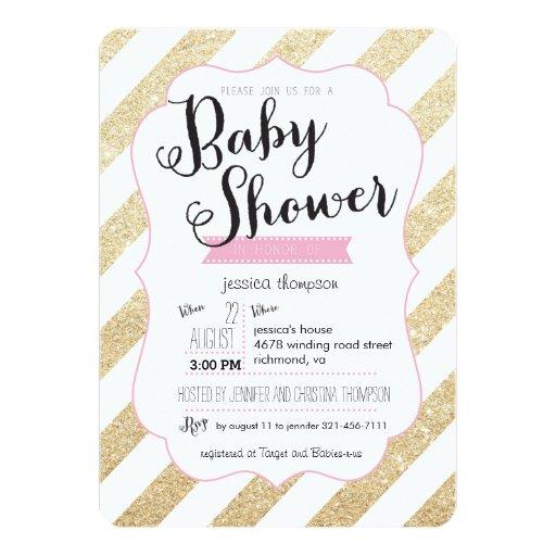 Gold Glitter & Pink Stripes Baby Shower Invite | Zazzle