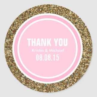 Gold Glitter & Pink Thank You Label Classic Round Sticker