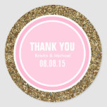 Gold Glitter & Pink Thank You Label Stickers