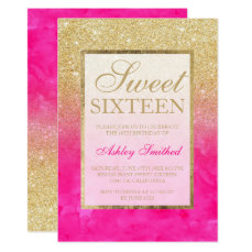 Gold glitter pink watercolor elegant chic Sweet 16 Card