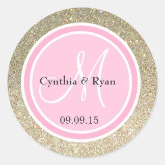 Gold Glitter & Pink Wedding Monogram Classic Round Sticker