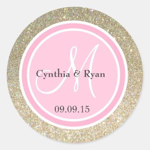 gold glitter pink wedding monogram classic round sticker