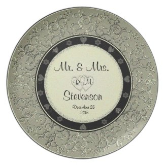 Gold Glitter Plate for Celebrations Dinner Plate