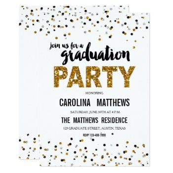 Gold Glitter Polka Dot Graduation Party Invitation by monogramgallery at Zazzle