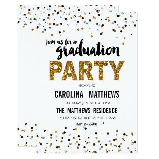 Gold glitter polka dot graduation party invitation zazzle gold glitter polka dot graduation party invitation filmwisefo