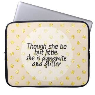 Gold Glitter Polka Dot Shakespeare Quote Laptop Sleeve