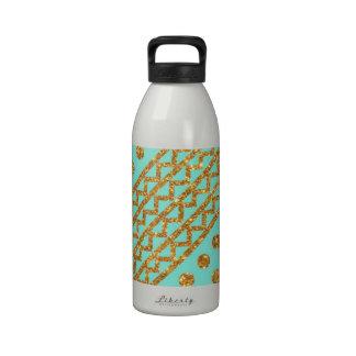 Gold Glitter Polka Dots Chevron Stripes Turquoise Water Bottles