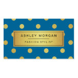 Gold Glitter Polka Dots - Classy Royal Blue Double-Sided Standard Business Cards (Pack Of 100)