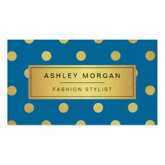 Gold Glitter Polka Dots - Classy Royal Blue Business Card