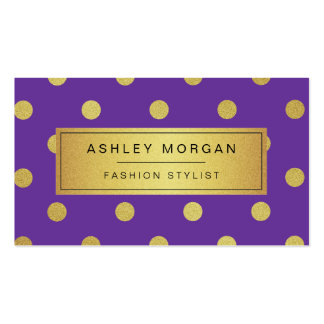 Gold Glitter Polka Dots - Girly Lavender Purple Business Card