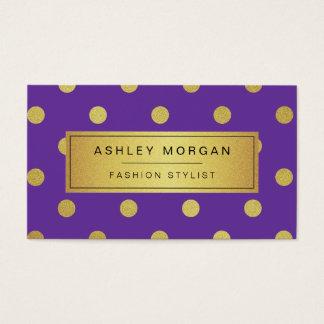 Gold Glitter Polka Dots - Girly Lavender Purple Business Card