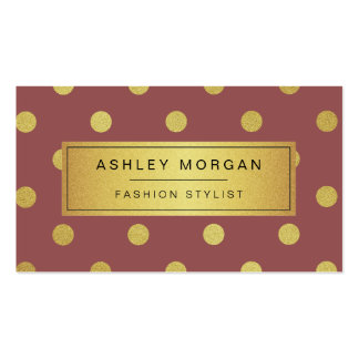 Gold Glitter Polka Dots - Marsala Red Wine Color Double-Sided Standard Business Cards (Pack Of 100)