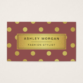 Gold Glitter Polka Dots - Marsala Red Wine Color Business Card
