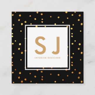 Gold Glitter Polka Dots Modern Interior Designer Square Business Card