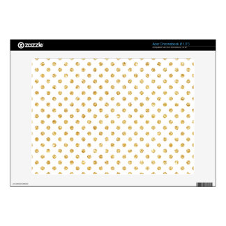 Gold Glitter Polka Dots Pattern Acer Chromebook Decal