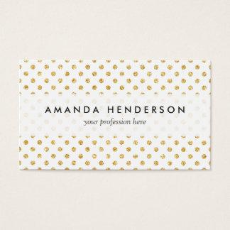 Gold Glitter Polka Dots Pattern Business Card
