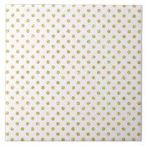 Gold Glitter Polka Dots Pattern Ceramic Tile